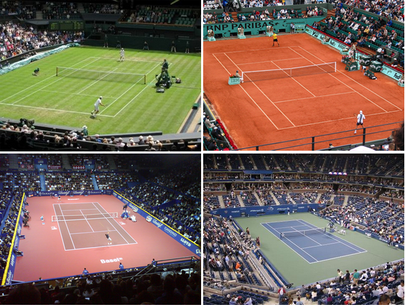 Tennis is played on 4 different services