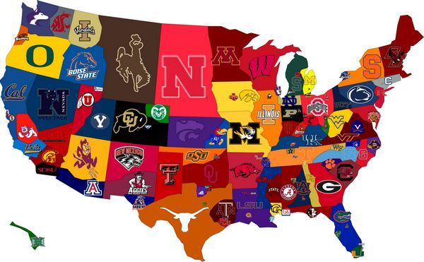 college football team map