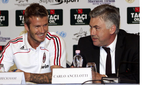 Good times, David Bechman was first signed by Carlo Ancelotti at AC Milan.